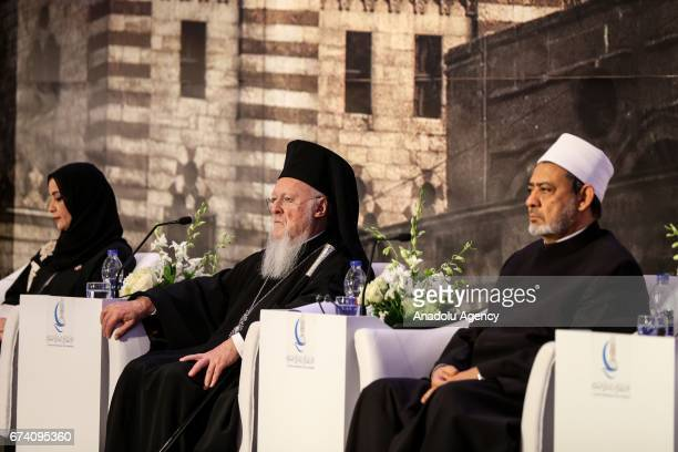 Egypt's Grand Imam of AlAzhar Sheikh Ahmed Mohamed alTayeb FenerGreek Patriarch Bartholomew Speaker of the Federal National Council of the UAE Dr...