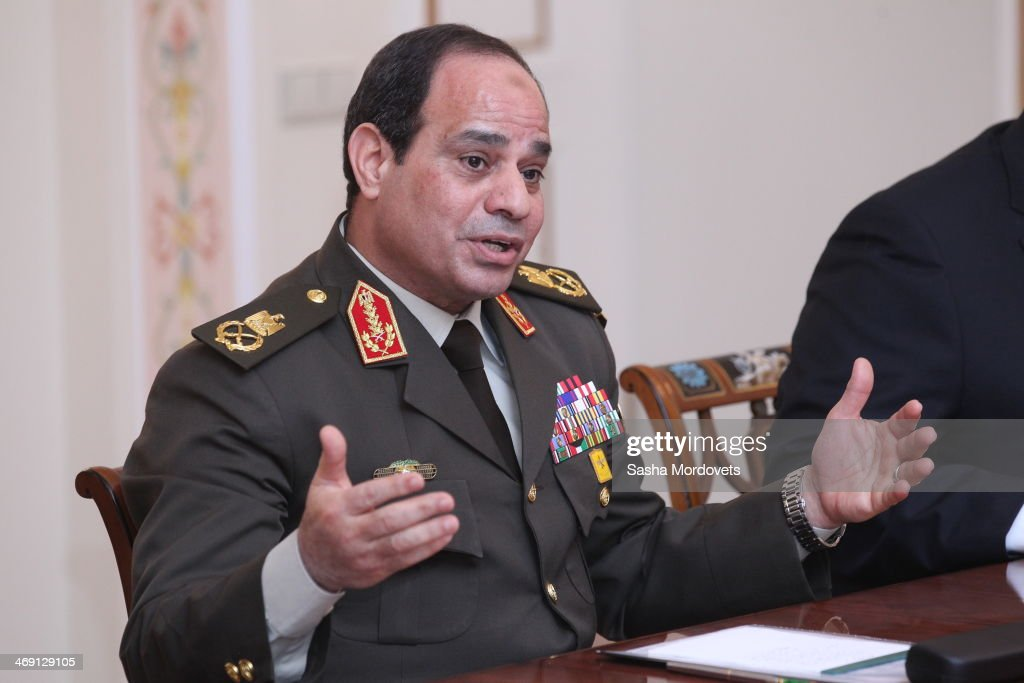 Egypt's Minister of Defense, First Deputy Prime Minister and likely presidential candidate, Field Marshal <a gi-track='captionPersonalityLinkClicked' href=/galleries/search?phrase=Abdel+Fattah+el-Sisi&family=editorial&specificpeople=11096401 ng-click='$event.stopPropagation()'>Abdel Fattah el-Sisi</a> meets with Russian President Vladimir Putin (not pictured) in Novo-Ogaryovo residence on February 13, 2014 near Moscow, Russia. Egypt's Minister of Defense <a gi-track='captionPersonalityLinkClicked' href=/galleries/search?phrase=Abdel+Fattah+el-Sisi&family=editorial&specificpeople=11096401 ng-click='$event.stopPropagation()'>Abdel Fattah el-Sisi</a> and Foreign Minister Nabil Fahmy are on a two-day official visit to meet with their Russian counterparts for bilateral discussions.