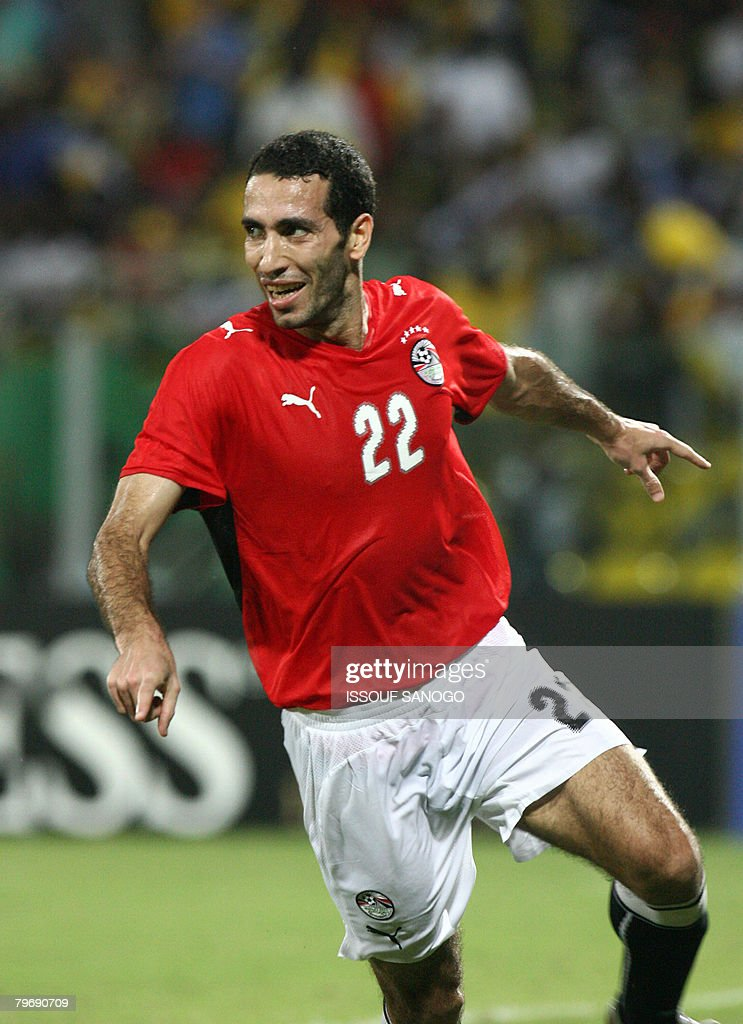 Egypt's Mohamed Aboutraika celebrates their victory against Cameroon on February 10 2008 in Accra stadium during their 2008 African Cup of Nations...
