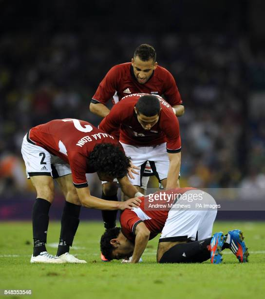 Egypt's Mohamed Salah celebrates with his team mates after he scores their side's second goal of the game during the Brazil v Egypt Mens Football...