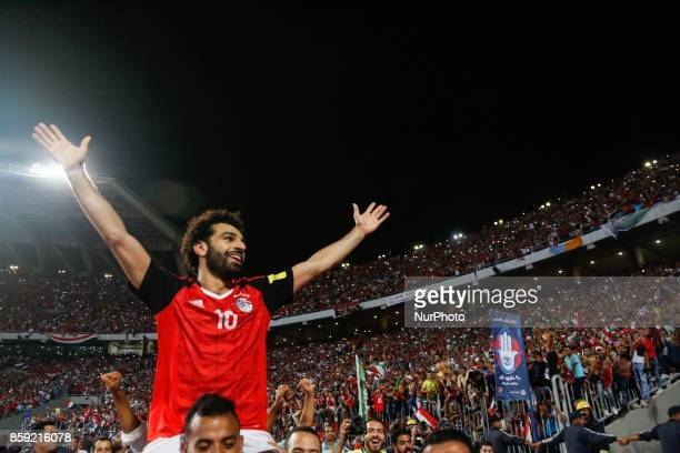 Egypts Mohamed Salah celebrating World Cup access and victory over Congo during the 2018 World Cup group E qualifying soccer match at Borg El Arab...