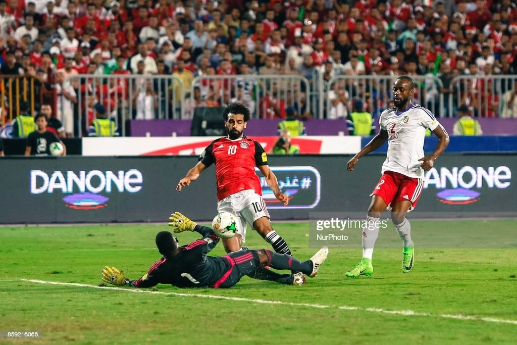 Egypts Mohamed Salah scores first goal during the 2018 World Cup group E qualifying soccer match at the Borg El Arab Stadium in Alexandria, Egypt, Sunday, Oct. 8, 2017. Egypt won 2-1.
