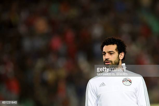 Egypt's Mohamed Salah takes part in a training session prior to the international friendly football match between Egypt and Tunisia at the Cairo...