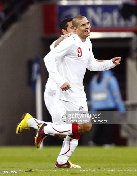Egypt's Mohamed Zidan celebrates scoring the opening goal