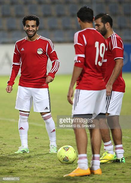 Egypt's national football team player Mohammed Salah who also plays for England's premier league club Chelsea takes part in a training session with...