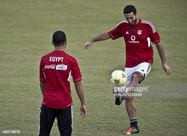 Egypt's national football team's Mohamed Aboutrika controls the ball during a training session in Cairo on November 17 2013 ahead of a return leg of...