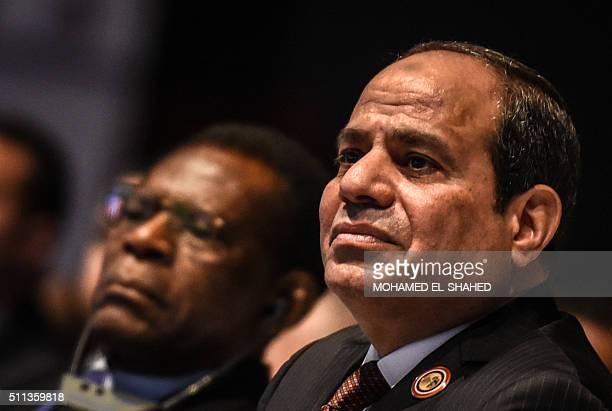 Egypt's President Abdel Fattah alSisi attends the Africa 2016 forum on February 20 in the Red Sea resort of Sharm elSheikh More than 1200 delegates...