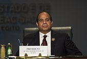 Egypt's President Abdel Fattah alSisi attends the closing session of an African summit meeting in the Egyptian resort of Sharm elSheikh on June 10...