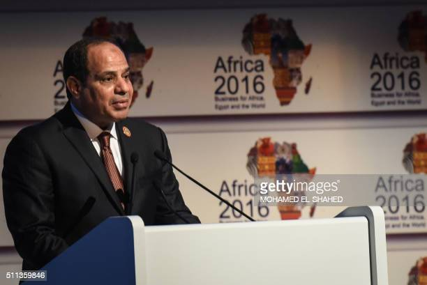 Egypt's President Abdel Fattah alSisi delivers a speech during the Africa 2016 forum on February 20 in the Red Sea resort of Sharm elSheikh More than...