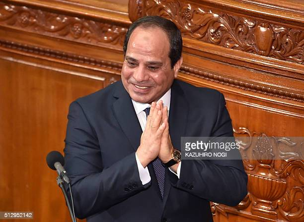 Egypt's President Abdel Fattah alSisi leaves the House of Representatives of the Diet after his speech in Tokyo on February 29 2016 The president is...