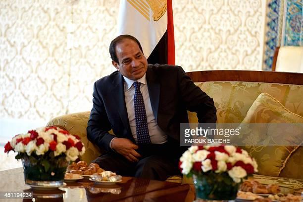Egypt's president Abdel Fattah alSisi meets with Algerian Senate speaker Abdelkader Bensalah upon his arrival at HouariBoumediene International...
