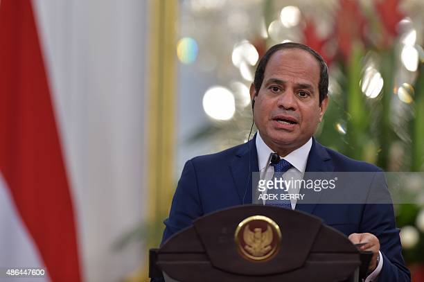 Egypt's President Abdel Fattah alSisi speaks during a press conference with Indonesia's President Joko Widodo at the presidential palace in Jakarta...