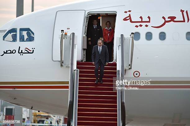 Egypt's President Abdel Fattah elSisi arrives at the Hangzhou Xiaoshan International Airport on September 3 2016 in Hangzhou China