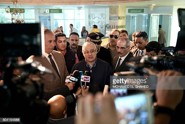 Egypt's Tourism Minister Hisham Zazou speaks to the media at the Nile hospital in Egypt's Red Sea resort of Hurghada on January 9 2016 after visiting...
