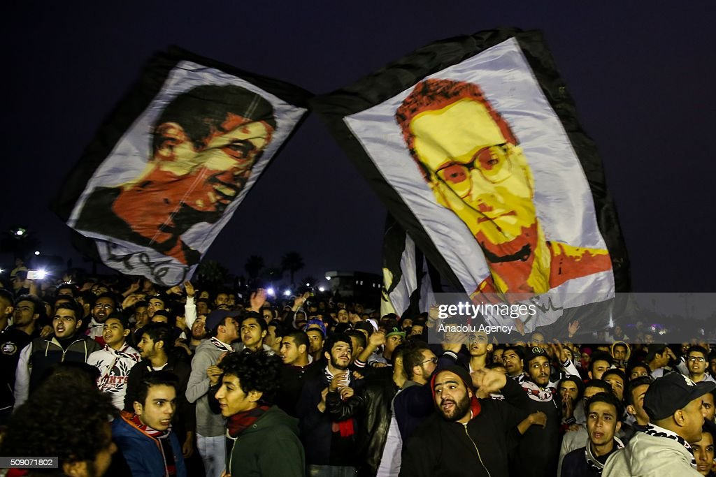 Egypt's Zamalek soccer team's fan group 'Ultras White Knights' (UWK) gather at Al-Fustat Park to commemorate 20 fans who had been killed during a deadly stampede ahead of a league match last year, in Cairo, Egypt on February 08, 2016.