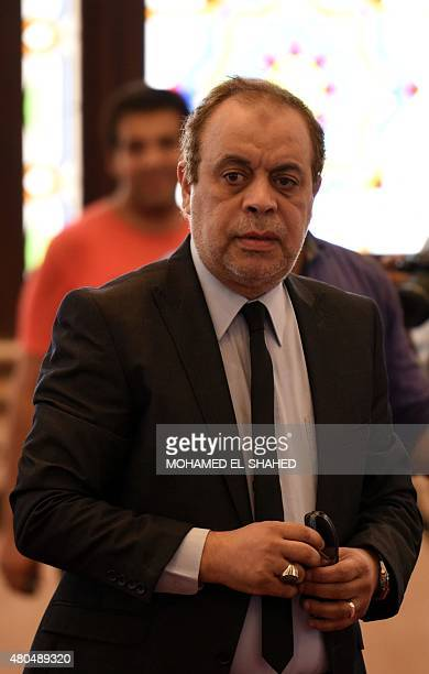Egytpian actor Ashraf Zaki arrives for the funeral of Cinema legend Omar Sharif at Mushir Tantawi mosque in the capital Cairo on July 12 2015 Sharif...