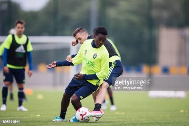 Egzon Binaku and Joel Asoro of Sweden during the Swedish U21 national team training at Stadion Miejski on June 17 2017 in Swidnik Poland