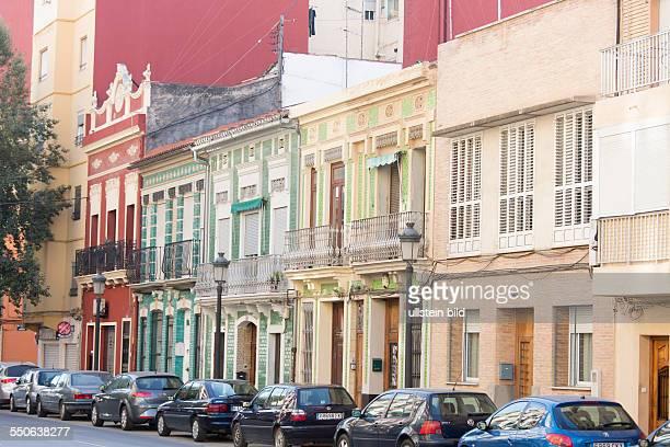 ehemaliges Fischerviertel El Cabanyal in Valencia das die Stadt für eine neue breite Straße zum Meer teilweise abreißen will Häuser im volkstümlichen...