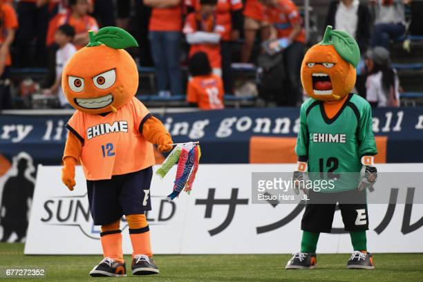 Ehime FC Mascots Orekun and Iyokanta are seen prior to the JLeague J2 match between Yokohama FC and Ehime FC at Nippatsu Mitsuzawa Stadium on May 3...