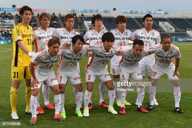 Ehime FC players line up for the team photos prior to the JLeague J2 match between Yokohama FC and Ehime FC at Nippatsu Mitsuzawa Stadium on May 3...