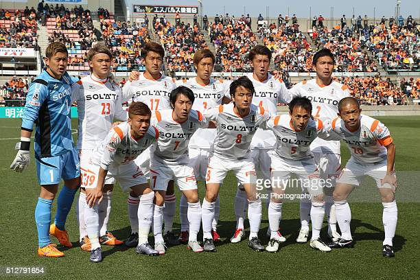 Ehime FC players line up for the team photos prior to the JLeague second division match between Shimizu SPulse and Ehime FC at the IAI Stadium...