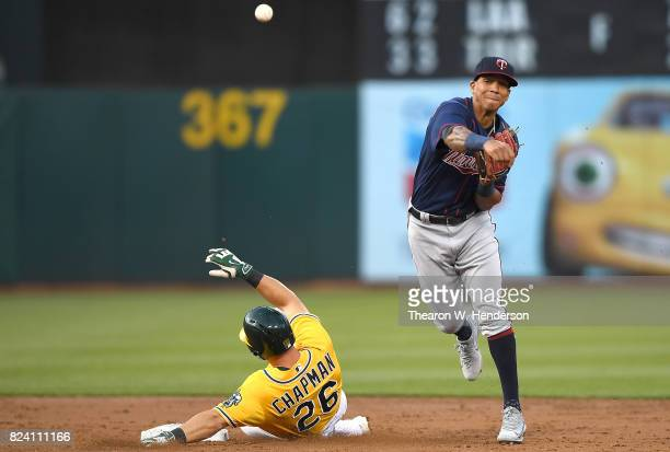 Ehire Adrianza of the Minnesota Twins completes the double play throwing over the top of Matt Chapman of the Oakland Athletics in the bottom of the...