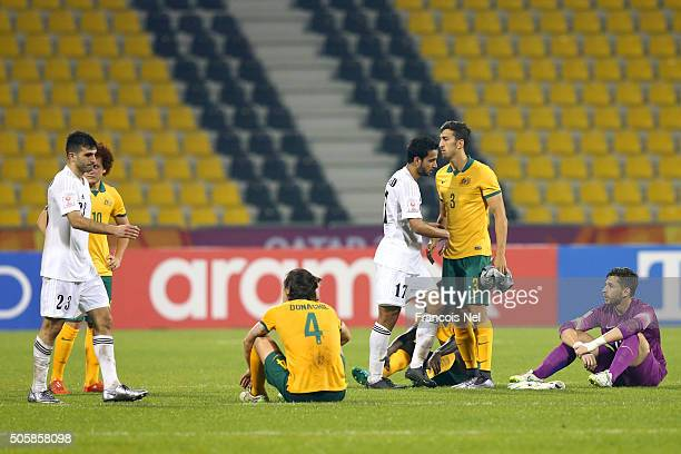 Ehsan Manel Haddad of Jordan and Rajaei Ayed Fadel Hasan of Jordan shakes hands with Australia players including James Donachie and Giancarlo...