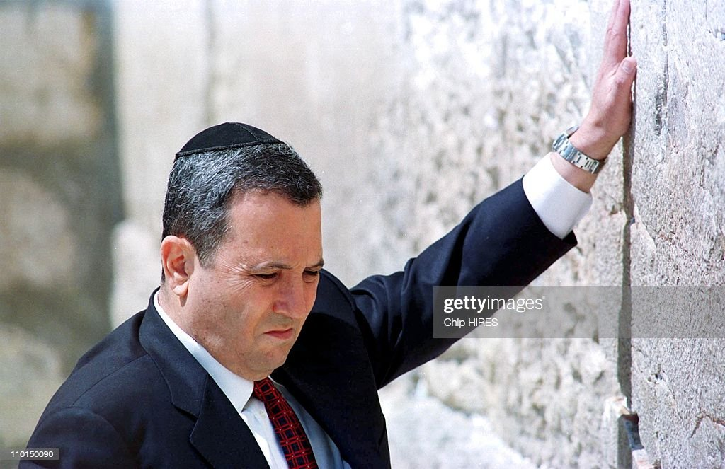 <a gi-track='captionPersonalityLinkClicked' href=/galleries/search?phrase=Ehud+Barak&family=editorial&specificpeople=202888 ng-click='$event.stopPropagation()'>Ehud Barak</a> at wailing Wall in Jerusalem, Israel on May 18, 1999.