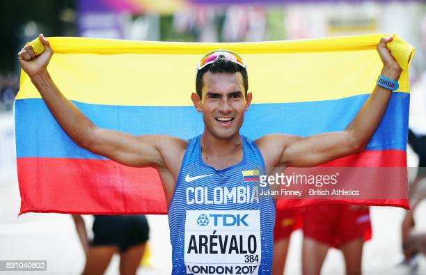 Eider Arevalo of Colombia gold celebrates after the Men's 20 Kilometres Race Walk final during day ten of the 16th IAAF World Athletics Championships...