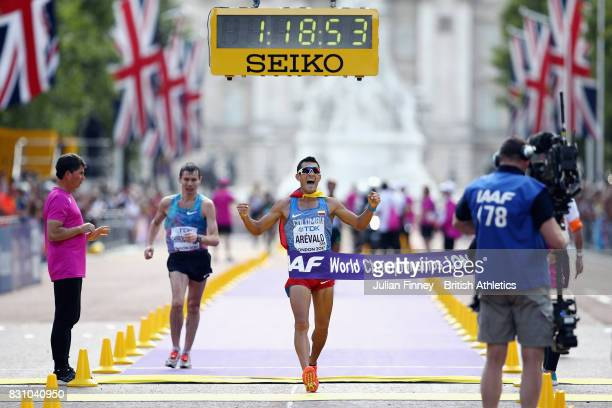 Eider Arevalo of Colombia gold crosses the finishline in the Men's 20 Kilometres Race Walk final during day ten of the 16th IAAF World Athletics...