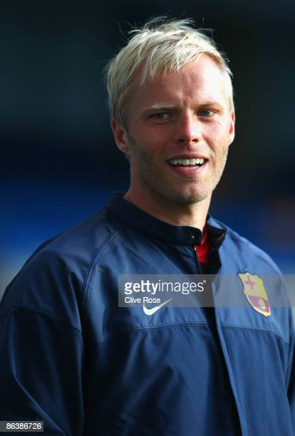 Eidur Gudjohnsen of Barcelona during a training session ahead of their UEFA Champions League SemiFinal Second Leg match against Chelsea at Stamford...