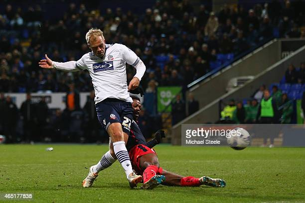 Eidur Gudjohnsen of Bolton scores the opening goal during the Sky Bet Championship match between Bolton Wanderers and Reading at Macron Stadium on...