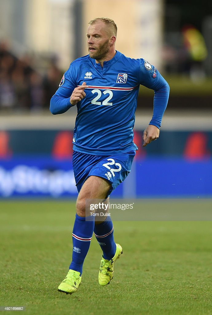 <a gi-track='captionPersonalityLinkClicked' href=/galleries/search?phrase=Eidur+Gudjohnsen&family=editorial&specificpeople=171363 ng-click='$event.stopPropagation()'>Eidur Gudjohnsen</a> of Iceland in action during the UEFA EURO 2016 Qualifier match between Iceland and Latvia at Laugardalsvollur National Stadium on October 10, 2015 in Reykjavik, Iceland. (Photo by Tom Dulat/Getty Images).