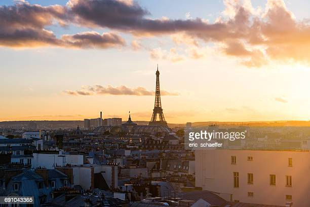 Eiffel Tower and city skyline at sunset, Paris, France