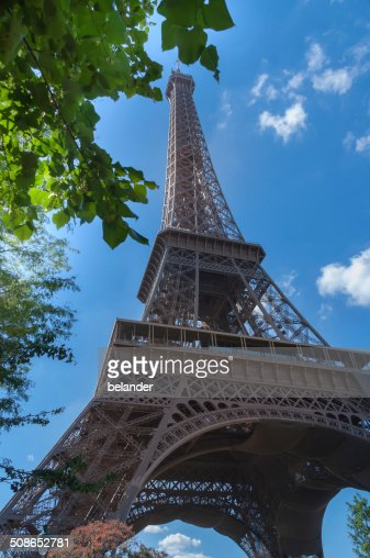Eiffel Tower and leaves : Stock Photo