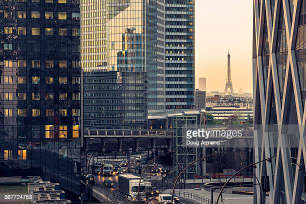 Eiffel Tower and the skyscrapers of La Defense