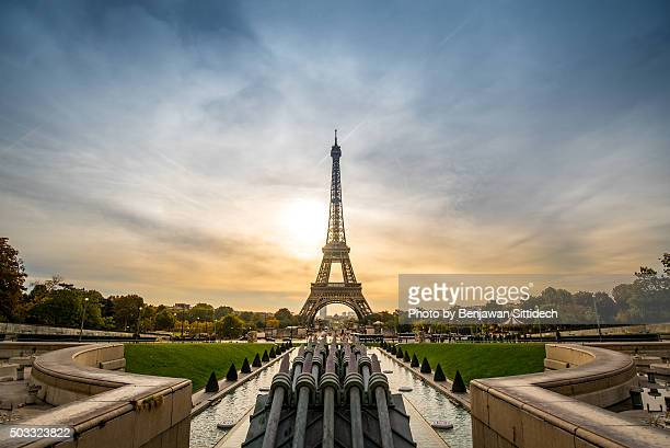 Eiffel Tower at sunrise in Paris, France