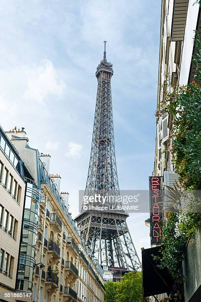 Eiffel Tower from a street in Paris