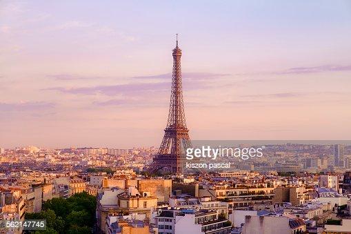 Eiffel tower from Arc de triomphe . .