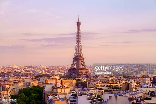 Eiffel tower from Arc de triomphe . .