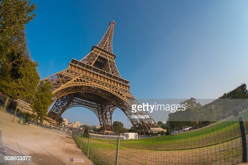 Eiffel tower from Champ de Mars : Stock Photo