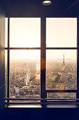 Eiffel tower from Montparnasse tower. Paris.