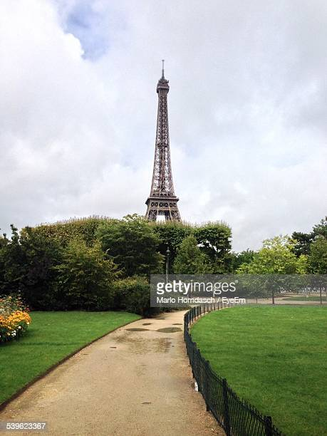 Eiffel Tower In Front Of Formal Garden