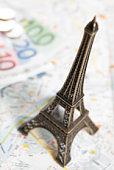 Eiffel Tower model on map