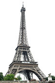 Eiffel Tower over white background. Champ de Mars, Paris, France