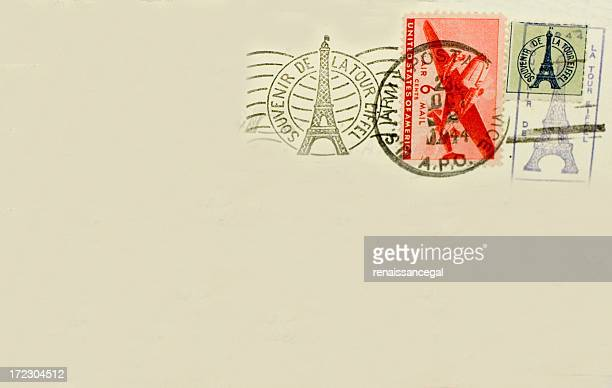 Eiffel Tower Paris France Souvenir Postcard with Postmark