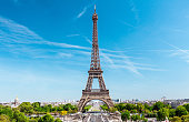 Eiffel tower and Trocadero park, Paris, France