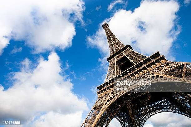 Eiffel tower under clouds and blue sky XXXL