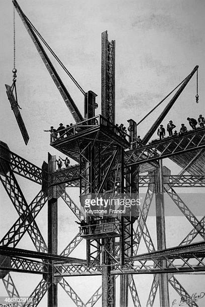 Eiffel Tower under construction in 1889 in Paris France