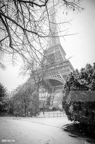 Eiffel Tower under snow